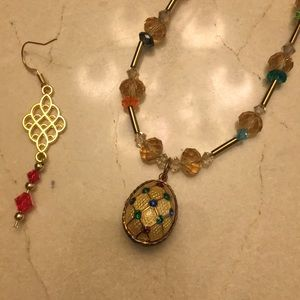 Set of Faberge egg style golden necklace/earrings for sale